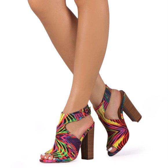 Blue Yellow Coral Faux Suede Open Peep Toe High Heel Platform Sandal Liliana